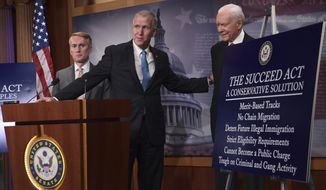 Sen. Thom Tillis, R-N.C., center, flanked by Sen. James Lankford, R-Okla., left, and Sen. Orrin Hatch, R-Utah, right, talk about the legislation they are introducing regarding the legal status of undocumented children during a news conference on Capitol Hill in Washington, Monday, Sept. 25, 2017. (AP Photo/Susan Walsh)