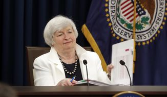 Federal Reserve Chair Janet Yellen closes her notebook after answering questions during a news conference following the Federal Open Market Committee meeting in Washington, Wednesday, Sept. 20, 2017. (AP Photo/Pablo Martinez Monsivais)