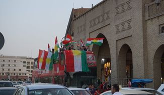 Kurds celebrated referendum day Monday in Irbil, the capital of the Kurdistan Regional Government, hoping to send a message to the international community. (Seth J. Frantzman/Special to The Washington Times)
