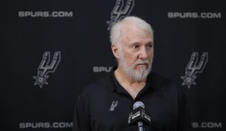 San Antonio Spurs head coach Gregg Popovich takes part in media day at the team's facility, Monday, Sept. 25, 2017, in San Antonio. (AP Photo/Eric Gay)
