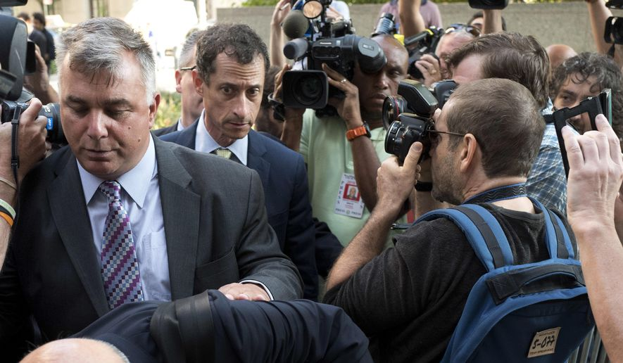 Former Congressman Anthony Weiner (D-N.Y.) arrives at federal court for his sentencing hearing in a sexting scandal, Monday, Sept. 25, 2017, in New York. (AP Photo/Mark Lennihan)