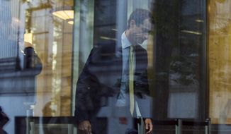 Former Rep. Anthony Weiner (D-N.Y.) arrives at federal court for his sentencing hearing in a sexting scandal, Monday, Sept. 25, 2017, in New York. (AP Photo/Andres Kudacki) ** FILE **