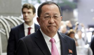 North Korea's Foreign Minister Ri Yong Ho speaks outside the U.N. Plaza Hotel, in New York, Monday, Sept. 25, 2017. (AP Photo/Richard Drew)