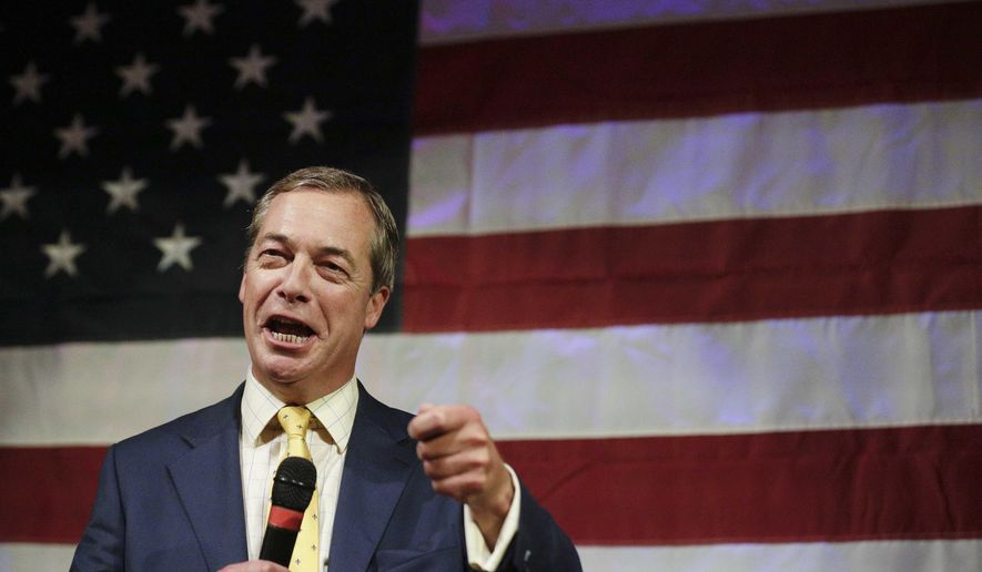 British politician Nigel Farage speaks at a rally for U.S. Senate hopeful Roy Moore, Monday, Sept. 25, 2017, in Fairhope, Ala. (AP Photo/Brynn Anderson)