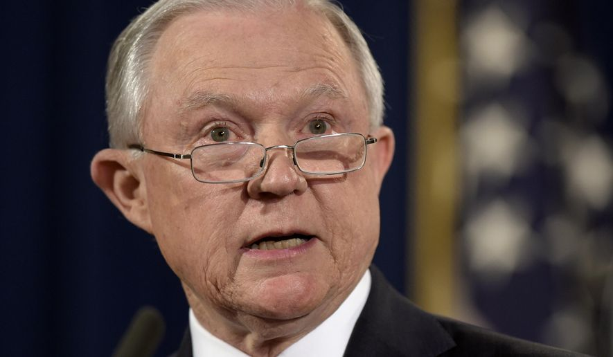 FILE - In this Sept. 5, 2017, file photo, Attorney General Jeff Sessions speaks at the Justice Department in Washington. Violent crime in America rose for the second straight year 2016, driven by a spike in killings in some major cities, but remained near historically low levels, according to FBI data released Monday, Sept. 25. (AP Photo/Susan Walsh, File)