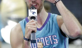 Charlotte Hornets' Frank Kaminsky jokes with sunglasses during an interview during the NBA basketball team's media day in Charlotte, N.C., Monday, Sept. 25, 2017. (AP Photo/Chuck Burton)