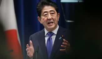 Japan's Prime Minister Shinzo Abe speaks during a press conference at the prime minister's official residence in Tokyo, Monday, Sept. 25, 2017.  Prime Minister Abe announced Monday he will call a snap election for parliament's more powerful lower house for next month.  Abe said at a news conference that he will dissolve the chamber on Thursday when it convenes after a three-month summer recess. The election is to be held Oct. 22.(AP Photo/Shizuo Kambayashi)