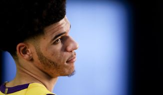 Los Angeles Lakers guard Lonzo Ball poses for a picture during NBA basketball media day, in El Segundo, Calif., Monday, Sept. 25, 2017. (AP Photo/Chris Carlson)