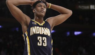 FILE- In this March 14, 2017, file photo, Indiana Pacers' Myles Turner (33) reacts during the second half of an NBA basketball game against the New York Knicks in New York. Several NBA stars changed addresses during the offseason, creating opportunities for players to step into bigger roles on several rosters including Turner. (AP Photo/Frank Franklin II, File)