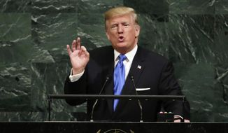 In this Sept. 19, 2017, file photo, U.S. President Donald Trump addresses the 72nd session of the United Nations General Assembly, at U.N. headquarters. (AP Photo/Richard Drew, File) **FILE**