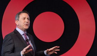 In this Wednesday, March 2, 2016, file photo, Target Chairman and CEO Brian Cornell speaks to a group of investors at the company's annual meeting in New York. (AP Photo/Mark Lennihan, File)