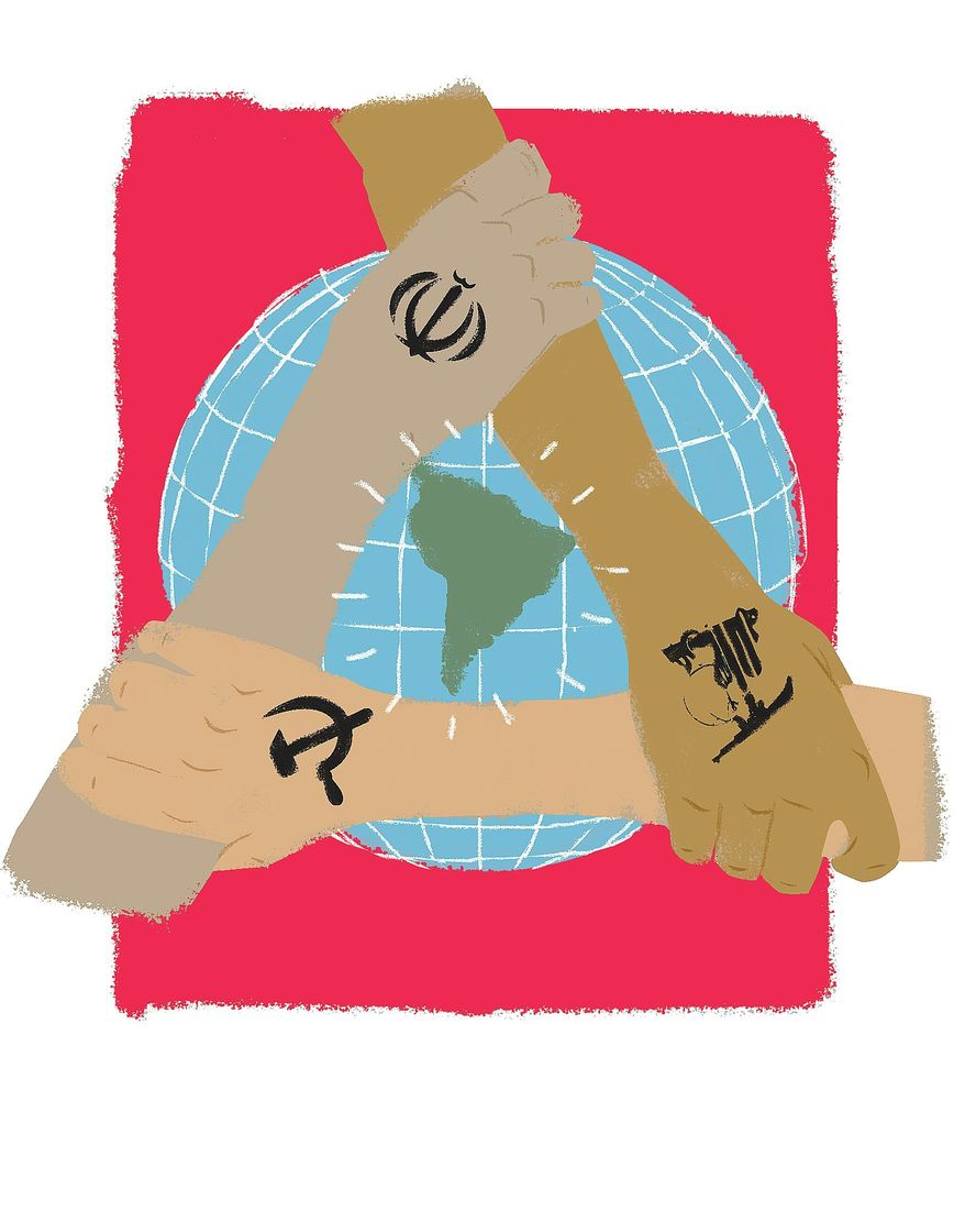Illustration on the evil triangle of Latin American anti-American forces by Linas Garsys/The Washington Times