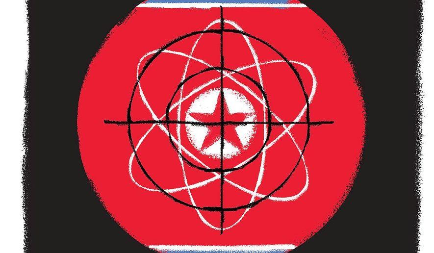 Illustration on disarming nuclear North Korea by Linas Garsy/The Washington Times