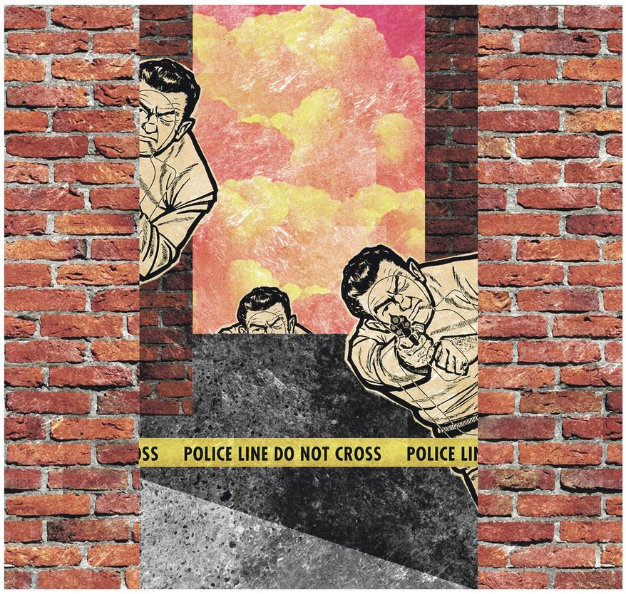 Illustration on the difficulties surrounding the use of police force by Alexander Hunter/The Washington Times