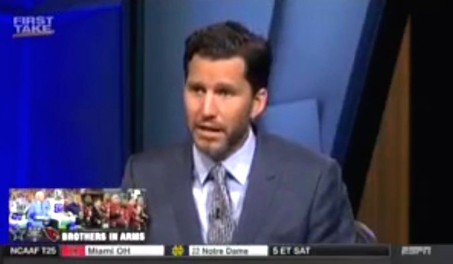 "ESPN contributor Will Cain tells a ""First Take"" panel on Sept. 26, 2017, that a ""media bubble"" can distort how analysts report on national anthem protests across the NFL. (Image: ""First Take"" screenshot)"