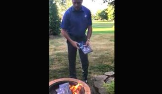 Marine veteran and Indianapolis Colts fan Rodney Heard destroys his season tickets in response to national anthem protests across the NFL. His Facebook video, posted Sept. 25, 2017, attracted 125,000 views in less than 24 hours. Local news stations also featured his message for the league. (Facebook, Rodney Heard)