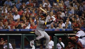 Washington Nationals' Bryce Harper in action during a baseball game against the Philadelphia Phillies, Tuesday, Sept. 26, 2017, in Philadelphia. (AP Photo/Matt Slocum)