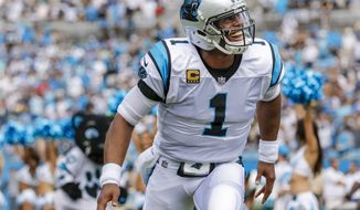 Carolina Panthers' Cam Newton (1) takes the field against the New Orleans Saints before an NFL football game in Charlotte, N.C., Sunday, Sept. 24, 2017. The Saints won 34-13. (AP Photo/Bob Leverone)