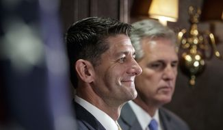 Speaker of the House Paul Ryan, R-Wis., joined at right by Majority Leader Kevin McCarthy, R-Calif., speaks following a closed-door Republican strategy session at Republican National Committee Headquarters on Capitol Hill in Washington, Tuesday, Sept. 26, 2017. (AP Photo/J. Scott Applewhite)
