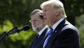 President Donald Trump speaks in the Rose Garden during a news conference with Spanish Prime Minister Mariano Rajoy at the White House, Tuesday, Sept. 26, 2017, in Washington. (AP Photo/Evan Vucci)