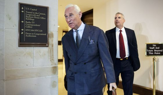 """Longtime Donald Trump associate Roger Stone arrives to testify before the House Intelligence Committee, on Capitol Hill, Tuesday, Sept. 26, 2017, in Washington. Stone says there is """"not one shred of evidence"""" that he was involved with Russian interference in the 2016 election. Stone's interview comes as the House and Senate intelligence panels are looking into the Russian meddling and possible links to Trump's campaign.(AP Photo/J. Scott Applewhite)"""