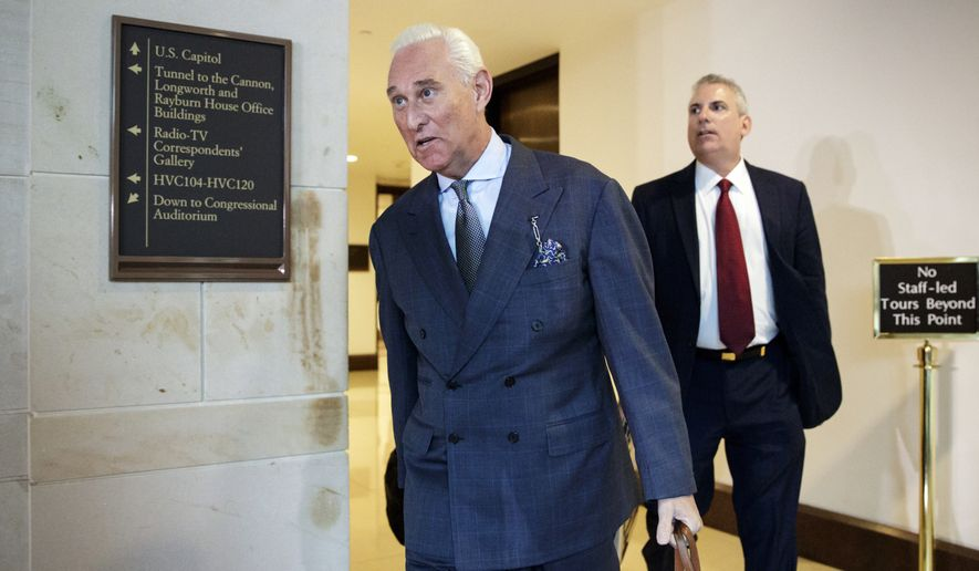 "Longtime Donald Trump associate Roger Stone arrives to testify before the House Intelligence Committee, on Capitol Hill, Tuesday, Sept. 26, 2017, in Washington. Stone says there is ""not one shred of evidence"" that he was involved with Russian interference in the 2016 election. Stone's interview comes as the House and Senate intelligence panels are looking into the Russian meddling and possible links to Trump's campaign.(AP Photo/J. Scott Applewhite)"