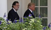 President Donald Trump and Spanish Prime Minister Mariano Rajoy walk to a news conference in the Rose Garden of the White House, Tuesday, Sept. 26, 2017, in Washington. (AP Photo/Alex Brandon)