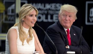 In this June 13, 2017, file photo, President Donald Trump, right, listens as his daughter, Ivanka Trump, speaks at a workforce development roundtable at Waukesha County Technical College in Pewaukee, Wis. (AP Photo/Andrew Harnik, File)