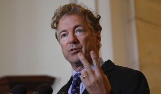 Sen. Rand Paul, R-Ky., speaks during a news conference on Capitol Hill in Washington, Monday, Sept. 25, 2017. (AP Photo/Pablo Martinez Monsivais) ** FILE **