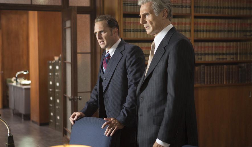 """This image released by Sony Pictures Classics shows Josh Lucas, left, and Liam Neeson in """"Mark Felt: The Man Who Brought Down the White House."""" (Bob Mahoney/Sony Pictures Classics via AP)"""
