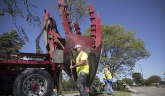 In this Wednesday, Sept. 20, 2017 photo, Jared Romick, left, and Seth Rhodes work to remove a tree as crews work to replant the islands near Eppley Airfield on Abbott Drive in Omaha, Neb. (Julia Nagy/Omaha World-Herald via AP)
