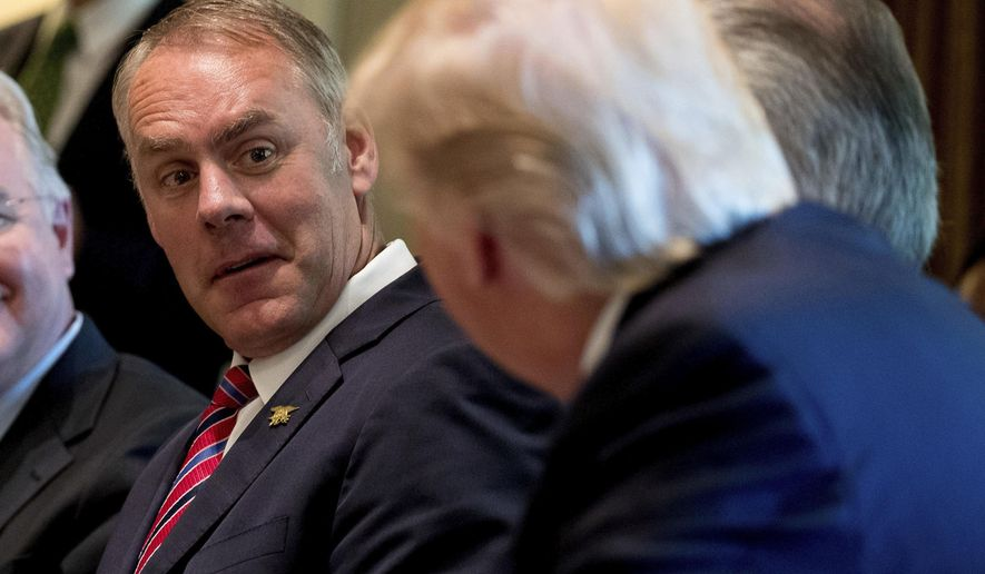 FILE- In this June 12, 2017, file photo, Interior Secretary Ryan Zinke, left, listens as President Donald Trump speaks during a Cabinet meeting in the Cabinet Room of the White House in Washington. Zinke said Monday, Sept. 25, that nearly one-third of employees at his department are not loyal to him and Trump, adding that he is working to change the department's regulatory culture to be more business friendly. (AP Photo/Andrew Harnik, File)
