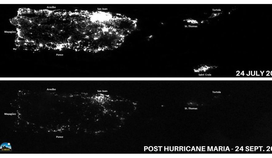 This combination of photos released by National Oceanic and Atmospheric Administration (NOAA) shows Puerto Rico at night on July 24, 2017, top, before the passing of Hurricane Maria, and on Sept. 25, days after the hurricane wiped out most of the island's power. NOAA corrected the date of the bottom image to Sept. 25 on Twitter. Most of Puerto Rico has been without lights or air conditioning since the passing of Maria on Sept. 20 and is looking at many more. (NOAA via AP)