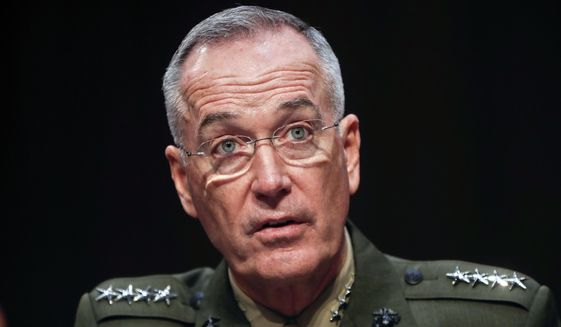 """Gen. Joseph Dunford, chairman of the Joint Chiefs of Staff, told the Senate Armed Services Committee on Tuesday, """"While the political space is clearly very charged right now, we haven't seen a change in the posture of North Korean forces."""" (Associated Press)"""