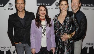 """FILE - In this Sept. 23, 2017, file photo, the cast of """"Will & Grace, from left, Eric McCormack, Megan Mullally, Debra Messing and Sean Hayes, attend a screening of the new season of the TV show during the Tribeca TV Festival at Cinepolis Chelsea in New York. The actors say they're grateful to be dusting off their """"Will & Grace"""" characters for the series' unprecedented return to primetime on Thursday, Sept. 28. (Photo by Christopher Smith/Invision/AP, File)"""