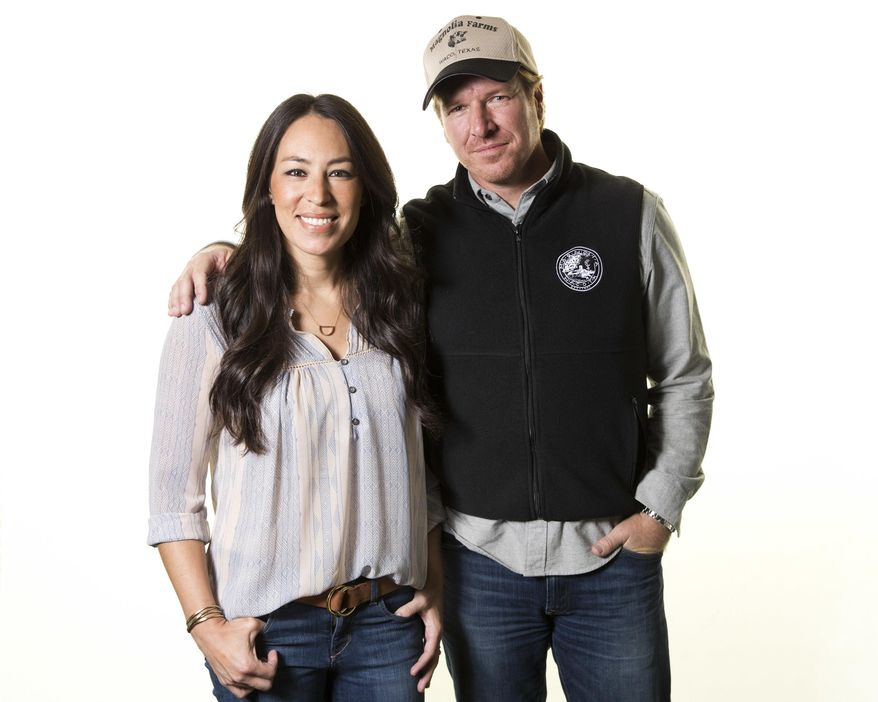 """FILE - In this March 29, 2016, file photo, Joanna Gaines, left, and Chip Gaines pose for a portrait in New York to promote their home improvement show, """"Fixer Upper,"""" on HGTV. The couple announced on Sept. 26, 2017, that the show's upcoming fifth season would be its last. (Photo by Brian Ach/Invision/AP, File)"""