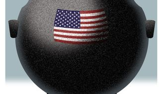 Illustration on the decline of unity and harmony in America by Alexander Hunter/The Washington Times