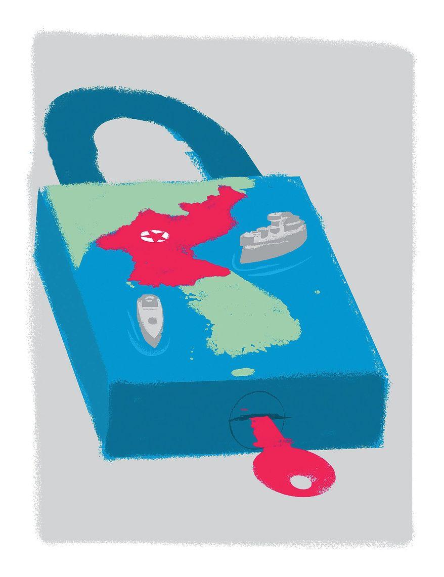 Illustration on a naval quarantine of North Korea by Linas Garsys/The Washington Times