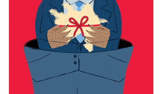Illustration on the Russian threat of influence over Azerbaijan by Linas Garsys/The Washington Times