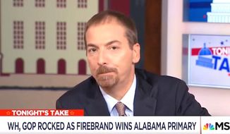 "MSNBC host Chuck Todd told viewers on Sept. 27, 2017, that Alabama's Republican senatorial candidate Roy Moore ""doesn't appear to believe in the Constitution as it's written."" He then played a clip of Mr. Moore saying rights come from God. (Image: MSNBC screenshot)"