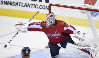 Washington Capitals goalie Braden Holtby (70) bats away the puck during the third period of an NHL preseason hockey game against the New Jersey Devils, Wednesday, Sept. 27, 2017, in Washington. The Devils won 4-1. (AP Photo/Nick Wass)