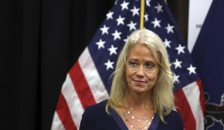 Counselor to the President Kellyanne Conway attends a news conference with Health and Human Services Secretary Tom Price, not shown, at the Mirmont Treatment Center Friday Sept.15, 2017, in Media, Pa. Conway and Price toured the center for drug and alcohol addiction recovery and discussed the opiod crisis. (AP Photo/Jacqueline Larma)