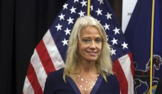Counselor to the President Kellyanne Conway attends a news conference with Health and Human Services Secretary Tom Price, not shown, at the Mirmont Treatment Center Friday Sept. 15, 2017, in Media, Pa. (AP Photo/Jacqueline Larma) ** FILE **