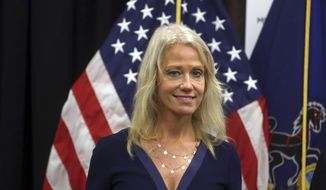 Counselor to the President Kellyanne Conway attends a news conference with Health and Human Services Secretary Tom Price, not shown, at the Mirmont Treatment Center Friday Sept.15, 2017, in Media, Pa. (AP Photo/Jacqueline Larma) ** FILE **