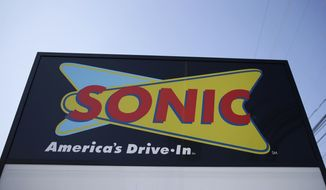 "This Monday, March 9, 2015, file photo shows a sign for a Sonic Drive-In in Holmes, Pa. Sonic says there's been some ""unusual activity"" on credit cards used at some of its drive-in restaurants. The chain said that it is working with third-party forensic experts and law enforcement officials on the incident. (AP Photo/Matt Rourke, File)"