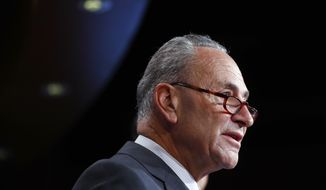 Senate Minority Leader Chuck Schumer of N.Y., discusses the Republican tax plan during a news conference on Capitol Hill in Washington, Wednesday, Sept. 27, 2017. (AP Photo/Pablo Martinez Monsivais)