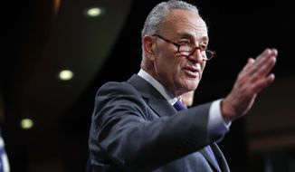 Senate Minority Leader Chuck Schumer of N.Y., discusses the latest GOP tax plan during a news conference on Capitol Hill in Washington, Wednesday, Sept. 27, 2017. (AP Photo/Pablo Martinez Monsivais) ** FILE **