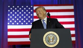 President Donald Trump pauses while speaking about tax reform at the Farm Bureau Building at the Indiana State Fairgrounds, Wednesday, Sept. 27, 2017, in Indianapolis. (AP Photo/Alex Brandon)