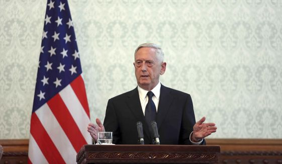 U.S. Defense Secretary Jim Mattis speaks during a press conference with Afghan President Ashraf Ghani and NATO Secretary General Jens Stoltenberg at the presidential palace in Kabul, Afghanistan, Wednesday, Sept. 27, 2017. The spokesman for the Afghan Interior Ministry said several civilians have been wounded in a rocket attack at Kabul's international airport as Mattis and Stoltenberg are in Kabul. (AP Photo/Rahmat Gul)