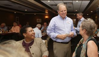 Democratic Senate nominee Doug Jones, center, talks to supporters, Jennifer L. Greer, right, and Janet Crosby, left, as he campaigns at Niki's West restaurant, Wednesday, Sept. 27, 2017, in Birmingham, Ala. Jones will face former Alabama Chief Justice and U.S. Senate candidate Roy Moore. (AP Photo/Brynn Anderson) ** FILE **